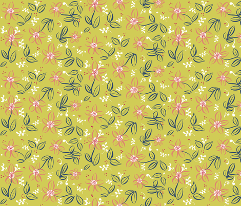 Flowery Coordinate fabric by jadegordon on Spoonflower - custom fabric