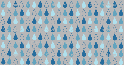 Raindrops in blue on grey