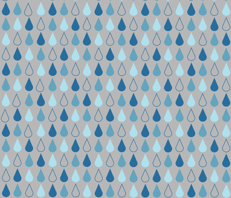 Raindrops in blue on grey fabric by little_fish on Spoonflower - custom fabric