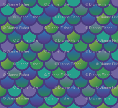 Mermaid fish scales in purple and green
