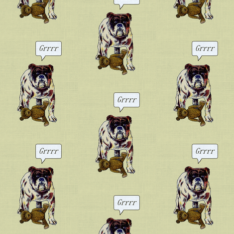 Bulldog with Teddy Bear fabric by ragan on Spoonflower - custom fabric