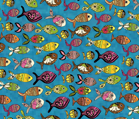 doodle fish fabric by scrummy on Spoonflower - custom fabric