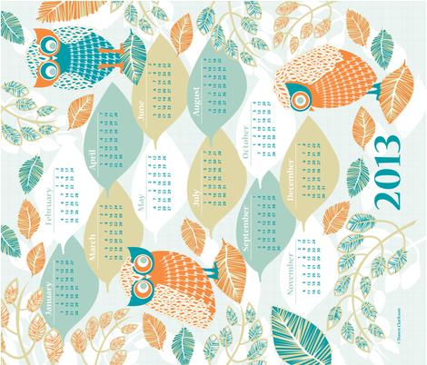 Laughing_Owls_2013_Calendar fabric by niceandfancy on Spoonflower - custom fabric