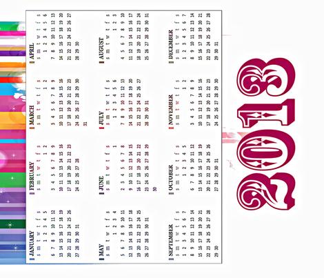 2013-Tea-Towel-Calendar-3-ed fabric by kfrogb on Spoonflower - custom fabric