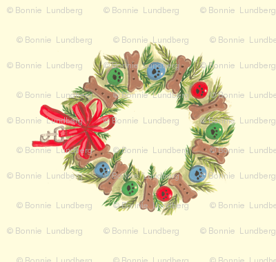 Xmas wreath Dog themed wreath 4 wreaths per yard