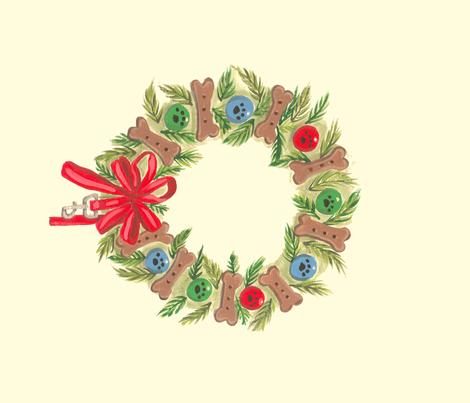 Xmas wreath Dog themed wreath 4 wreaths per yard  fabric by bonz_fabric_ on Spoonflower - custom fabric