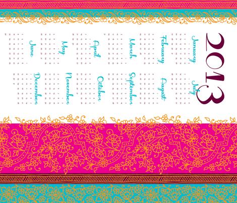 Bollywwod Mehndi calendar [contest version] fabric by monmeehan on Spoonflower - custom fabric