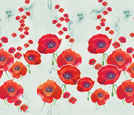 Red Poppies fabric by milenagaytandzhieva on Spoonflower - custom fabric