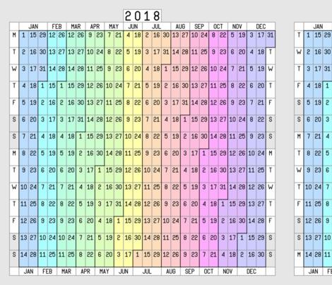 2018 to 2021 fortnightly calendar fabric by sef on Spoonflower - custom fabric