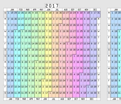 2017 + 2018 fortnightly calendar fabric by sef on Spoonflower - custom fabric