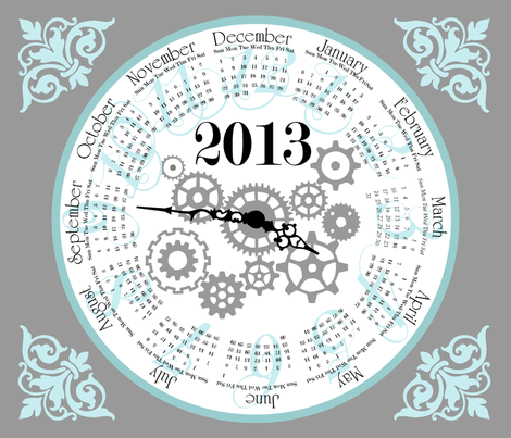 2013_clock fabric by crystalef on Spoonflower - custom fabric