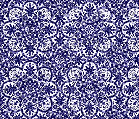 Bourgogne Tile ~ Admiral White & Blue fabric by peacoquettedesigns on Spoonflower - custom fabric