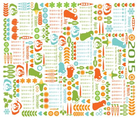 Guinea Pigs for All Seasons - Calendar 2015 fabric by ebygomm on Spoonflower - custom fabric