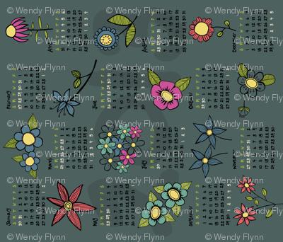 2013 Flowery calendar tea towel