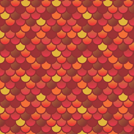 Mermaid fish scales in red and orange fabric by little_fish on Spoonflower - custom fabric