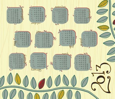 2013 Tea Towel Calendar fabric by thebon on Spoonflower - custom fabric