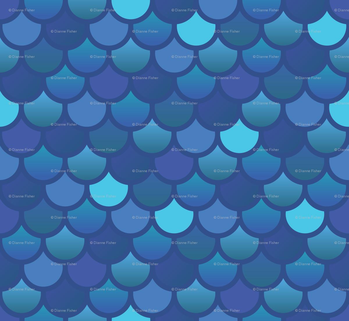 mermaid fish scales in blues wallpaper little fish spoonflower