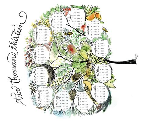 treeful year - 2013 tea towel calendar - ekström fabric by lisaekström on Spoonflower - custom fabric