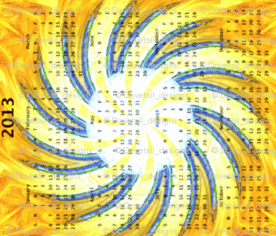 2013 Calendar - Durfort, France -  Cathedral Windows Swirl