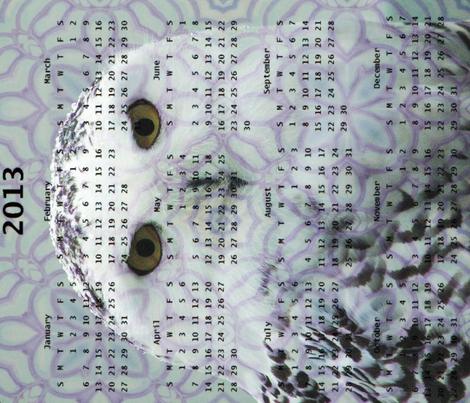 2013 Calendar - Birdsongs 4-  Irish Owl from the Burren, Ireland fabric by dovetail_designs on Spoonflower - custom fabric