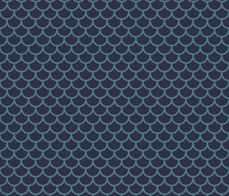 Feather Scales in Navy and Teal fabric by little_fish on Spoonflower - custom fabric