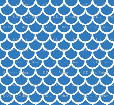 Feather Scales in Blue and White