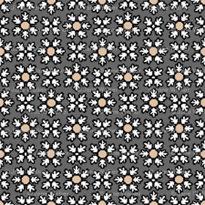 Floral Dot buff grey  © 2012 by Jane Walker