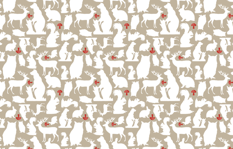 Woodland Animals Small Taupe fabric by emma_smith on Spoonflower - custom fabric