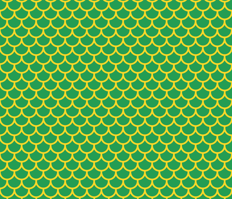 Feather Scales in Green and Yellow fabric by little_fish on Spoonflower - custom fabric