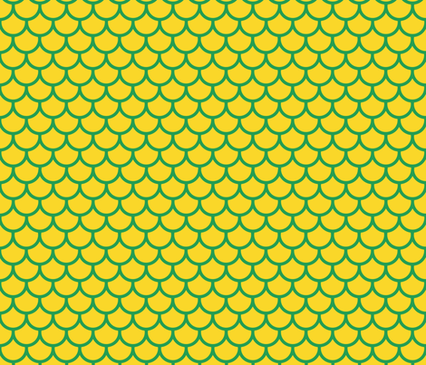 Feather Scales in Yellow and Green fabric by little_fish on Spoonflower - custom fabric