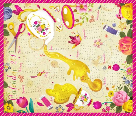 Tea Towel Calendar 2013 fabric by irrimiri on Spoonflower - custom fabric