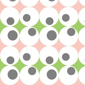 Googley Spots in PinkMidGreenGrey