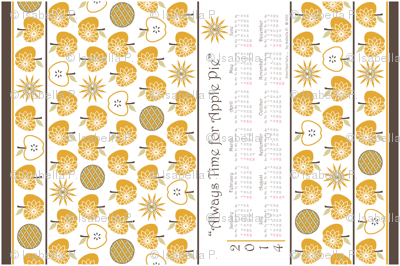 Always Time for Apple Pie - 2014 Calendar Tea Towel - Gold