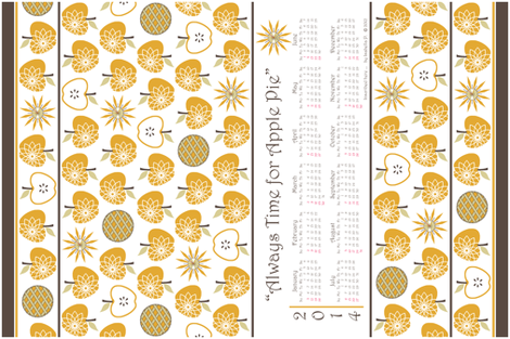 Always Time for Apple Pie - 2014 Calendar Tea Towel - Gold fabric by inscribed_here on Spoonflower - custom fabric