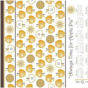 Always Time for Apple Pie - 2014 Calendar Tea Towel - Gold