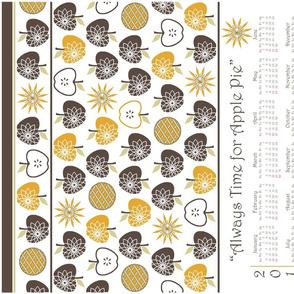 Always Time for Apple Pie - 2014 Calendar Tea Towel - Brown