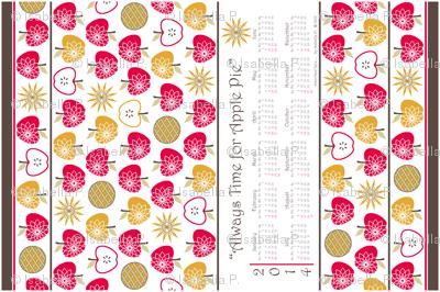 Always Time for Apple Pie - 2014 Calendar Tea Towel - Retro Red