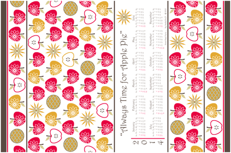 Always Time for Apple Pie - 2014 Calendar Tea Towel - Retro Red fabric by inscribed_here on Spoonflower - custom fabric