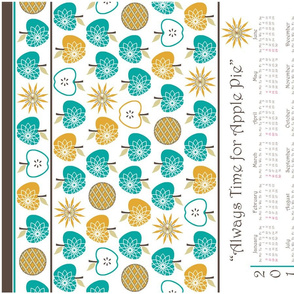 Always Time for Apple Pie - 2014 Calendar Tea Towel - Retro Jade