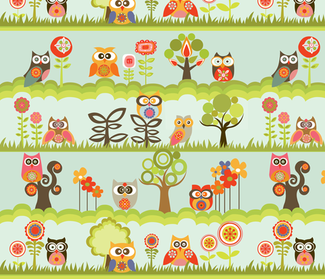 Owls in the garden fabric by valentinaharper on Spoonflower - custom fabric