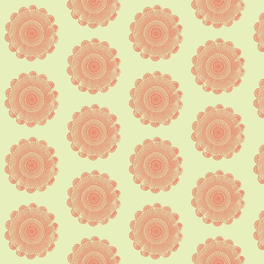 quilty doilies peach on sage