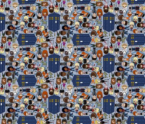 Blue Box friends - Blue/SMALL fabric by thirdhalfstudios on Spoonflower - custom fabric
