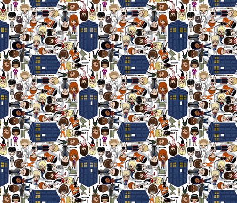 Blue Box friends - SMALL/White fabric by thirdhalfstudios on Spoonflower - custom fabric