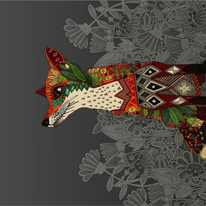 dark floral fox tea towel