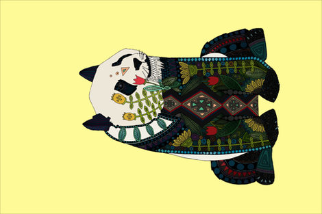 panda lemon tea towel fabric by scrummy on Spoonflower - custom fabric