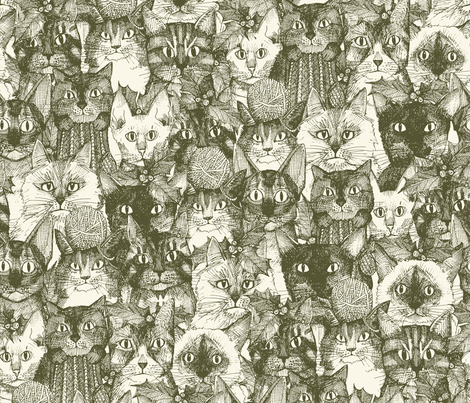 christmas cats natural fabric by scrummy on Spoonflower - custom fabric