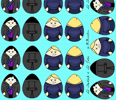 Lil Sherlock & John Plushies fabric by marchhare on Spoonflower - custom fabric