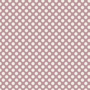 Cream Polka Dots on Mauve