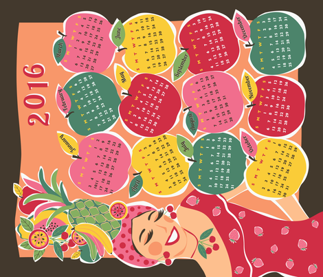 carmen tea towel calendar 2016 fabric by gracedesign on Spoonflower - custom fabric