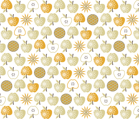 Always Time for Apple Pie - Natural fabric by inscribed_here on Spoonflower - custom fabric